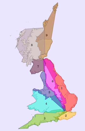 Regions defined by the first number of UK roads. Produced by removing all motorways, trunk roads (ending in (T)) and roads over 75km in length (150km in Scotland)