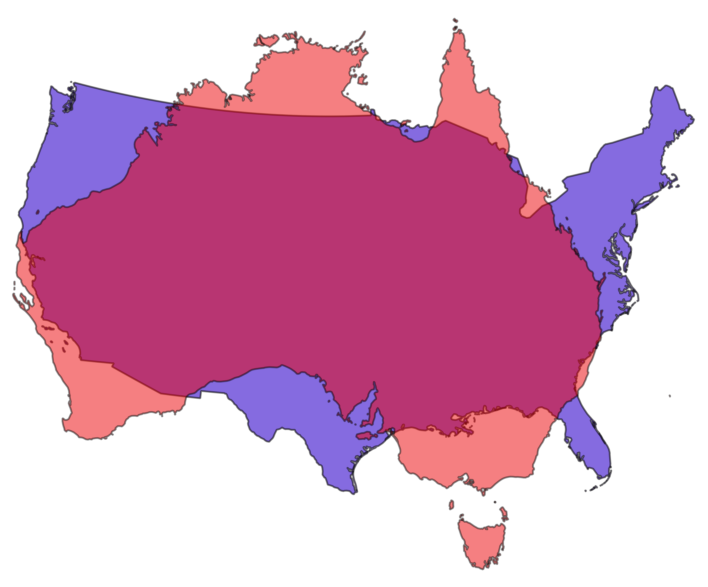 continental us and australia comparison by jamesgeocom released under creative commons attribution share