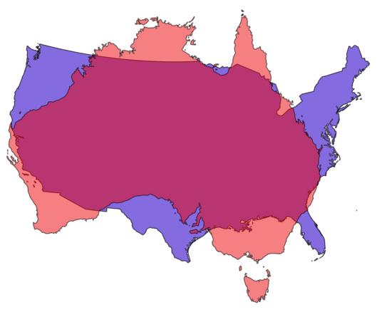 Continental US and Australia comparison by jamesgeo.com released under Creative Commons Attribution share-alike 4.0. Country data from