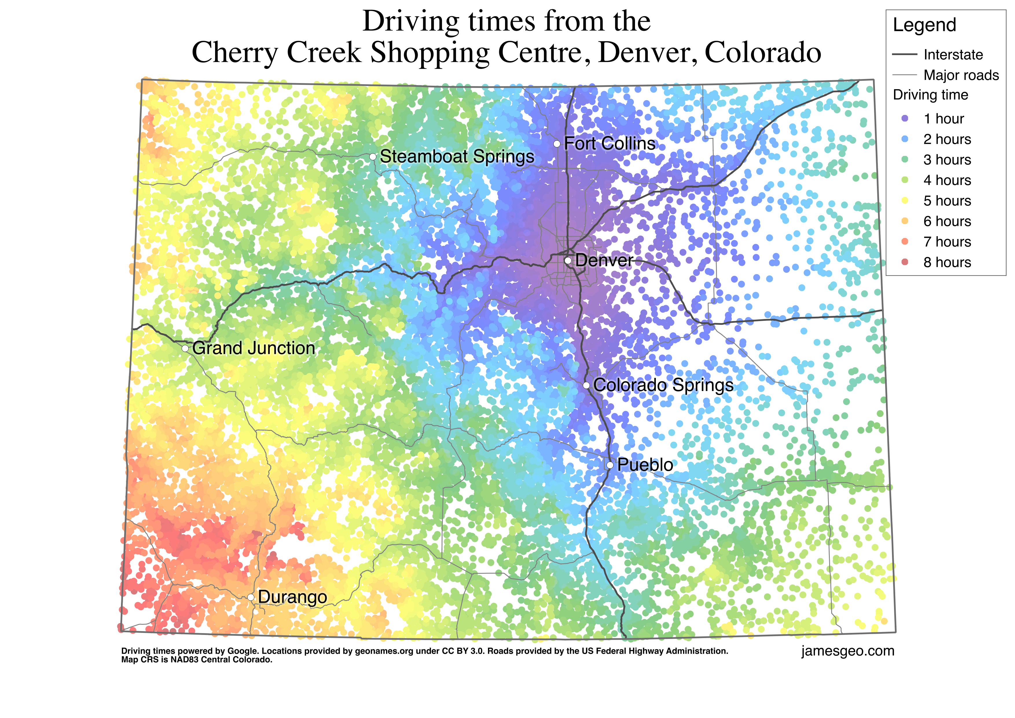 Driving time from Denver, Colorado [3507 x 2480] : Map on